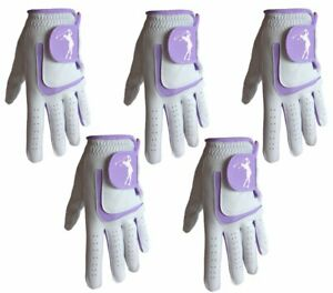 5 x Ladies 100% Super Soft Cabretta Leather Golf Gloves With Lilac Lycra
