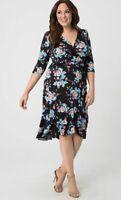 Kiyonna Women's Dress 5X True Wrap Dress Flirty Flounce Floral 30 32 USA V Neck