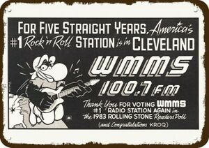 1984 WMMS 100.7 FM #1 CLEVELAND Radio Vintage-Look DECORATIVE REPLICA METAL SIGN