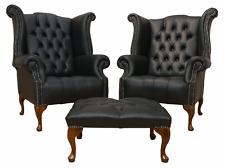 2 x Chesterfield Queen Anne con Bottoni sedile schienale alto in pelle nera SEDIE Wing