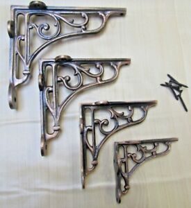 cast iron vintage rustic Victorian scroll shelf support brackets wall mounted