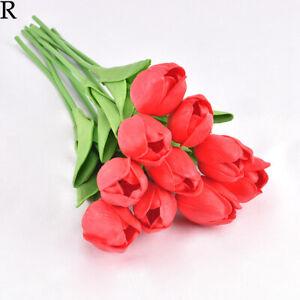 5pcs Artificial Tulip Flowers False Fake Bouquet Real Touch Home Wedding Decor~.