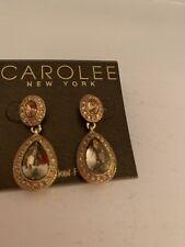 Crystal Teardrop Drop Earrings L50 $45 Carolee 1-1/4� Gold Tone