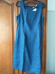 BNWT Linen Dress By Adini. 16 . Lovely Navy. Back detail.