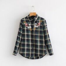 Fashion Embroidered Plaid Blouse Woman - Green