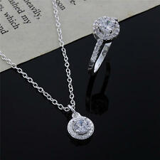 hot fashion 925 sterling silver necklace earring jewelry set cute women wedding