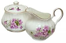 Wild Violets Bone China Lidded Cream and Sugar Set, Made in Enland