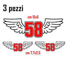 KIT 3 ADESIVI STICKERS CIAO 58 MARCO SIMONCELLI..TRIBUTE FOR SIC...VERNICIABILI!