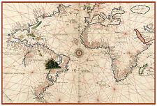 Atlantic Ocean Europe Africa America World Nautical map Battista Agnese ca.1544