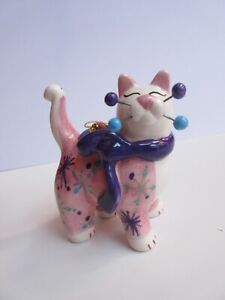 Amy Lacombe Annaco Creations 2002 Pink & White Porcelain Whimsical Cat Ornament