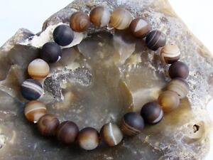 Men's Bracelet NATURAL Gemstone 10mm COFFE AGATE frosted beads streachable