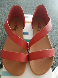 New I Love Billy Sarran red flat womens shoes casual sandals zip back size 37