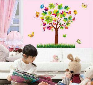 Colorful Tree Birds Butterfly Wall Sticker Art Wall Mural Decal Room Decor SU