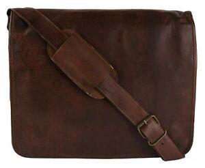 Handmade 15 inch Vintage Crossbody Genuine Leather Messenger Bag Laptop Bag