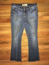 Sz 1 REG junior's L.E.I. ASHLEY LOWRISE BOOT whiskered faded stretch denim jeans
