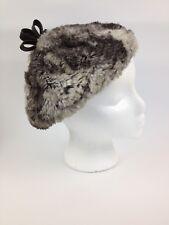 Vtg 1950s 1960s Womens Faux? Fur Hat Beret Black Silver Gray Soft Boho Beanie