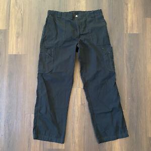 Carhartt Scrub Cargo Work Pants Black Men's Sz M Comfort Waist Ripstop Pockets