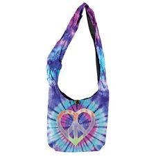 PEACE HEART HOBO SHOULDER BAG Tie Dye Hippie Purse NEW Boho Bohemian Fabric