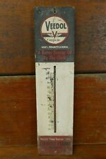 Vintage 1940's Original Veedol Flying A Motor Oil Wood Thermometer Sign Working