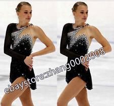 Ice skating dress.Black Stunning Competition Figure Skating Ballet Dance Dress