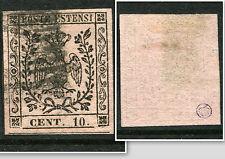 MODENA ITALIAN STATES 1852 10c Nr9 Fine used Stamp Signed cat EURO 600