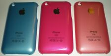 Lot of 3 thin profile snap on hard shell cases for iPhone 3G 3GS, Blue/Red/Pink