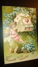 "Antique  "" MY VALENTINE""  Post Card -  Embossed. Appr.. 1905-14 Unused"