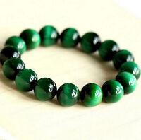 Natural AAA+ Gemstone Green Tigers Eye Stone Beads Woman Men Bracelet Bangle