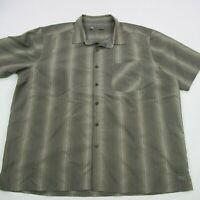REI Mens Button Front Shirt Pockets Green Outdoor Short Sleeve Camping 2XL