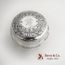 Acid Etched Dresser Jar Sterling Silver Lid Cut Crystal Body 1910