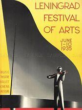 Pubblicità Musica Teatro Balletto PIANOFORTE VIOLINO Leningrad FESTIVAL ARTE POSTER lv226