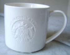 Starbucks Coffee Cup Mug White 12 oz  / White Embossed Siren Mermaid Logo 2013