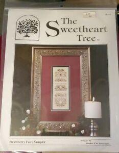 the sweetheart tree strawberry faire sampler cross stitch kit