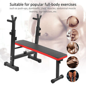 Adjustable Height Folding Sit Up Weight Fitness Bench Barbell Dip Station Stand