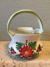 """VINTAGE Ceramic Basket Floral Hand Made & Hand Painted made in Italy 7.3""""x4.5"""""""