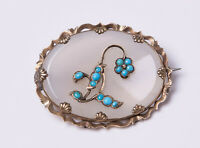 Antique Victorian White Chalcedony & Natural Turquoise Brooch