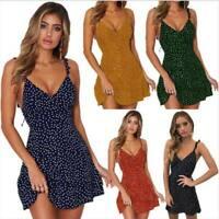 Short Sexy  Boho Mini Dress Evening Summer Floral Party Sundress Beach Women's