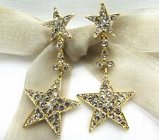18KGold Plated Dangling Star Round Swarovski Element Crystal Rhinestone Earrings