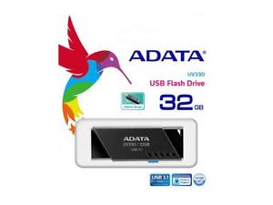 ADATA UV330 USB 3.1 CAPLESS RETRACTABLE FLASH DRIVE 32GB BLACK AUV330-32G-RBK