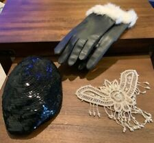 Vintage Ladies hat with Pearl overlay and Gloves Sz 6-8 With Fur - Very Nice!