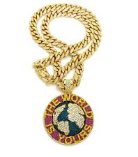 """ICED OUT WORLD IS YOURS PENDANT WITH 30"""" ICED OUT CUBAN CHAIN"""