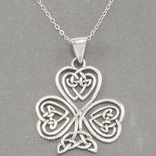 "CELTIC KNOT HEART SHAMROCK Irish Clover Pendant 925 STERLING SILVER 18"" Necklace"