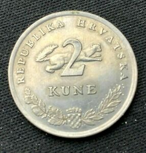 1993 Croatia 2 Kune Coin XF   Copper Nickel  World Coin   #K1327
