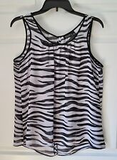 a.n.a. ana Blouse SHEER Sleeveless Animal Print Black & White Petite Large