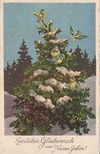 AK, Grafik, Neujahrskarte - verschneite Tanne mit Vöglen, 1937; 5026-76