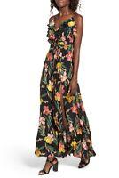 NWT Privacy Please Karen Black Floral Backless Maxi Dress Size M Ruffle Slit