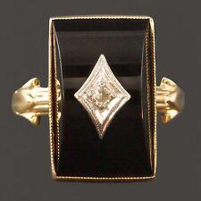 Beautiful Art Deco, Solid Yellow Gold, Onyx & Diamond Ladies Estate Ring NR!