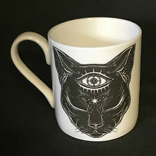CHARLOTTE CLARK MEDIUM MYSTICAL CAT MUG. FINE CHINA CUP. GOTHIC KITCHEN.