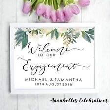 Printable Engagement Welcome Print Cutsom for Party White Black Pink Roses