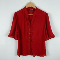 Leesa Womens Blouse Button Shirt Size 16 Red Short Sleeve Collared Vintage